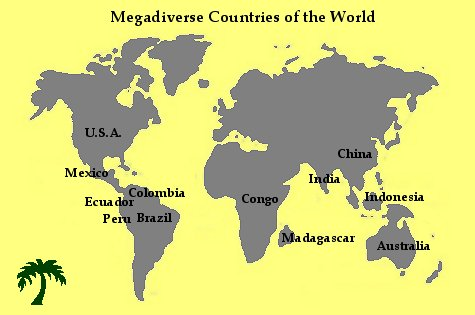 Map - Megadiverse countries